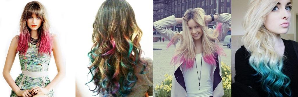 Окрашивание кончиков волос в яркие цвета фото