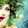 Яркий макияж и прическа на новый год