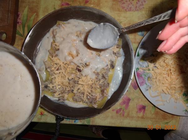 Лазанья с куриным мясом и грибами