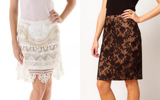 Современные кружевные юбки