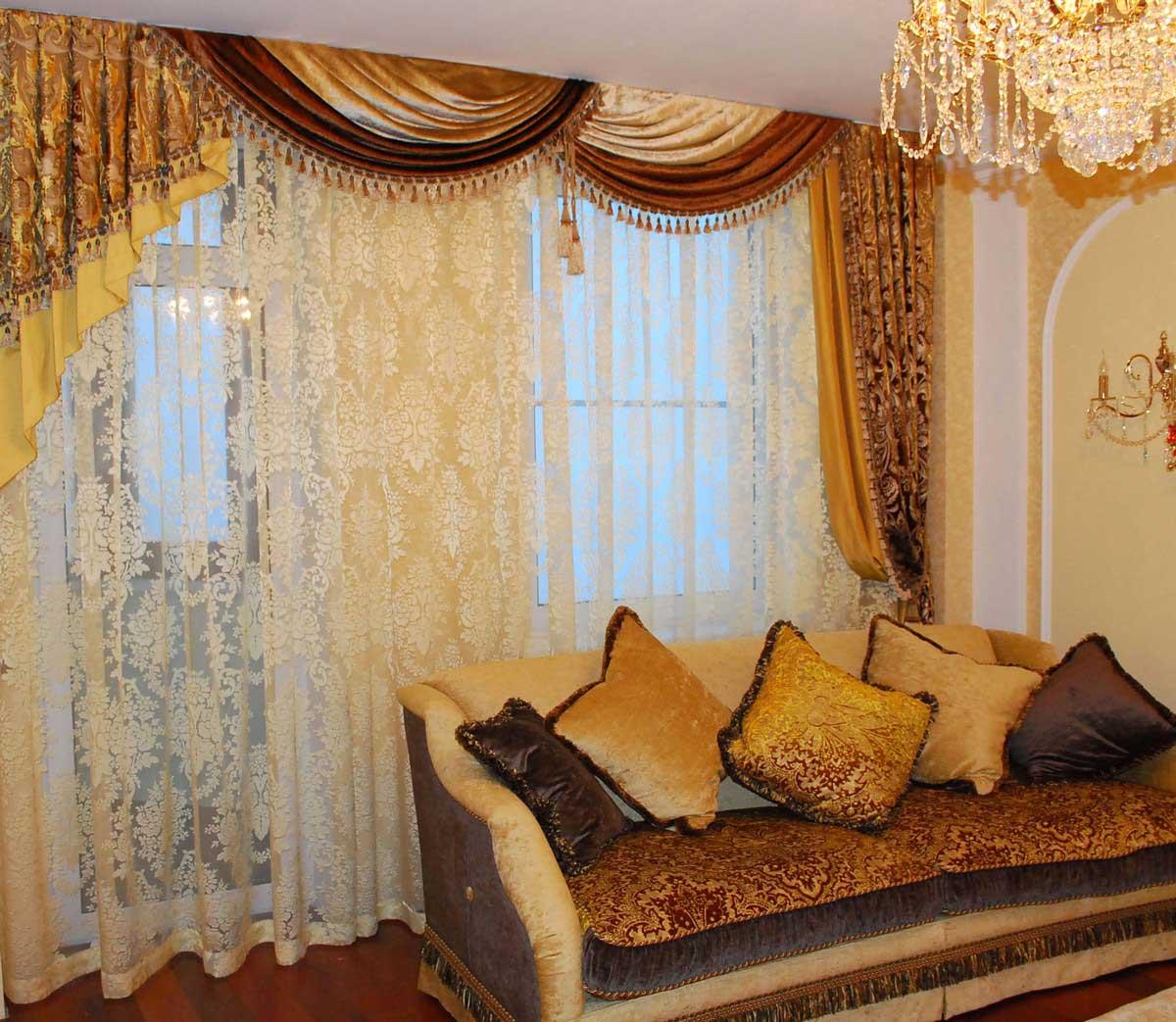 шторы для гостиной пошив своими руками - 5