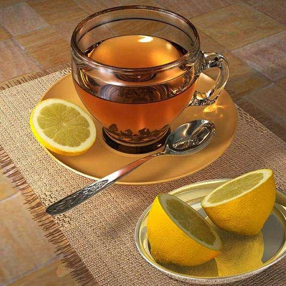стакан горячего чая с лимоном и медом
