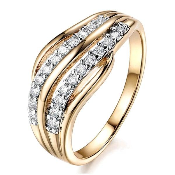 Кольцо позолоченное с кристаллами swarovski