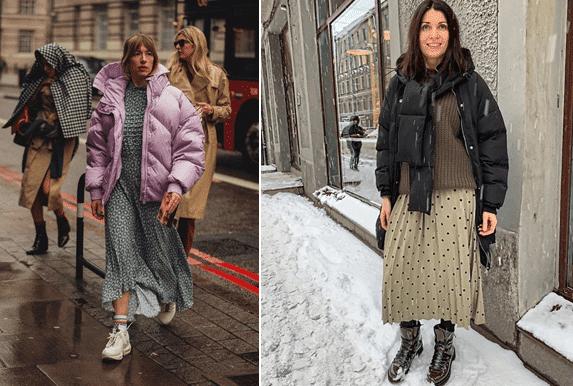 Как одеваться зимой стильно: платье + пуховик