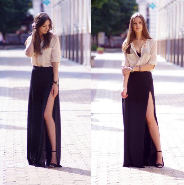 С чем одеть длинную юбку с разрезом?